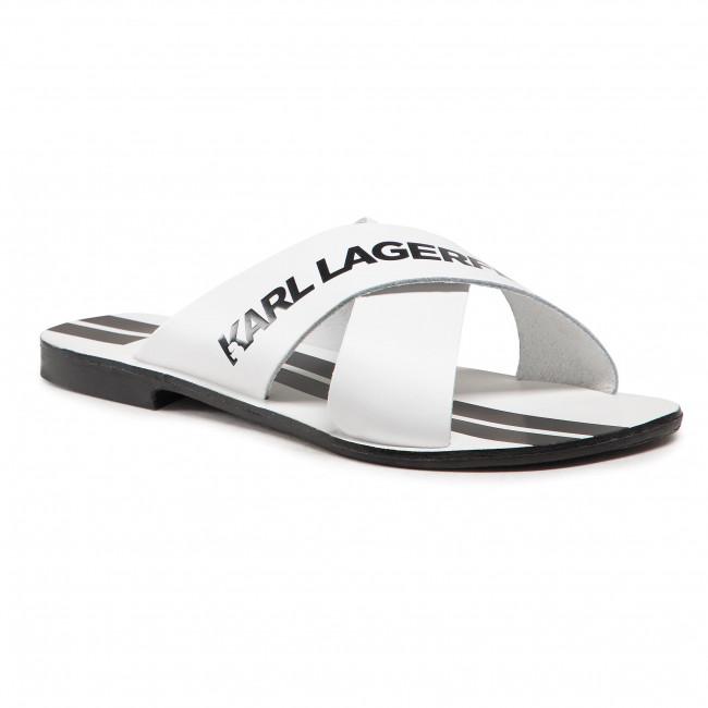 Šľapky KARL LAGERFELD - KL80484  White Lthr w/Black