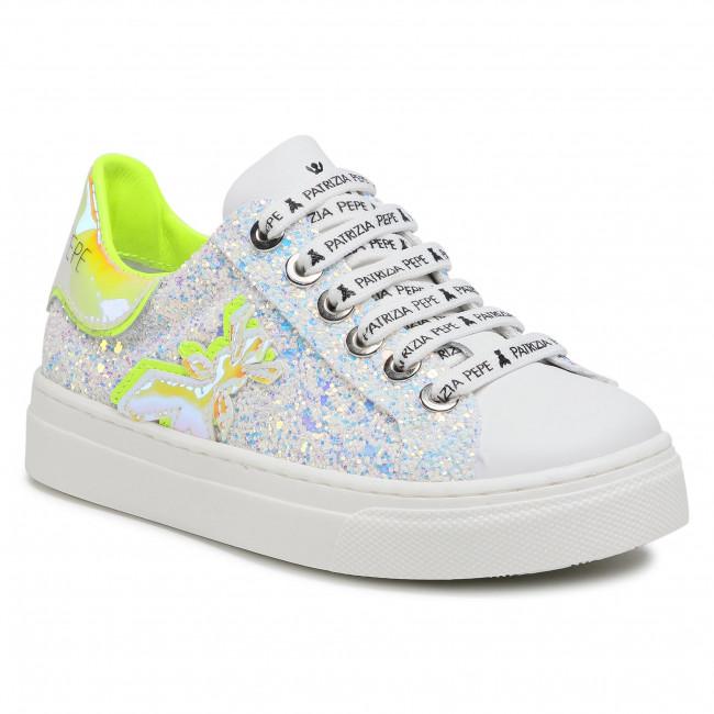 Sneakersy PATRIZIA PEPE - PPJ56.10 Glitter Snow/Giallo Fluo