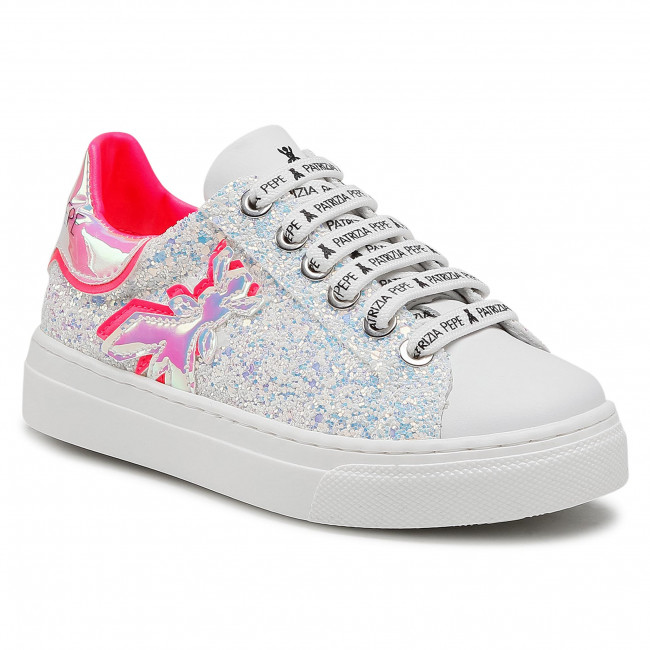 Sneakersy PATRIZIA PEPE - PPJ56.20 Glitter Snow/Fuxia Fluo