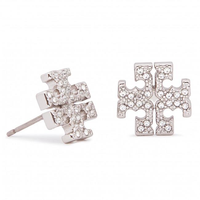 Náušnice TORY BURCH - Crystal Logo Stud Earring 53423 Tory Silver/Crystal 042