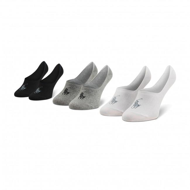 Súprava 3 párov krátkych ponožiek unisex POLO RALPH LAUREN - 449799742001 r. OS Black/White/Grey