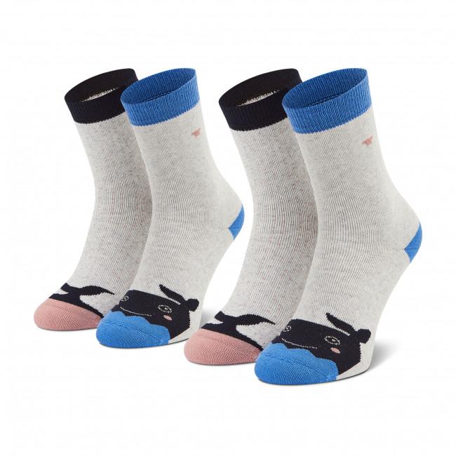Súprava 2 párov vysokých ponožiek detských TOM TAILOR - 93137 Light Grey 473