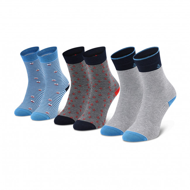 Súprava 3 párov vysokých ponožiek detských TOM TAILOR - 93133 Dark Navy 545