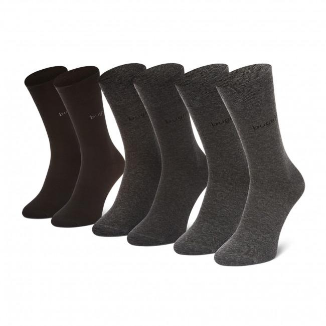 Súprava 3 párov vysokých ponožiek pánskych BUGATTI - 6803X Black 610