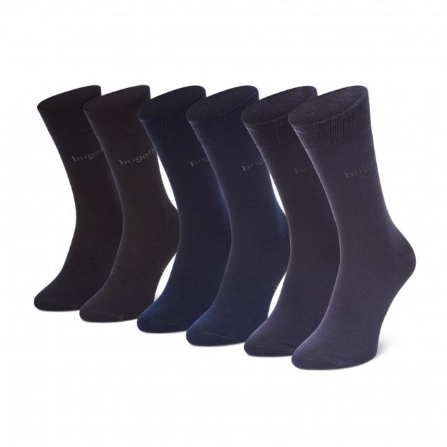 Súprava 3 párov vysokých ponožiek pánskych BUGATTI - 6803X Navy 545