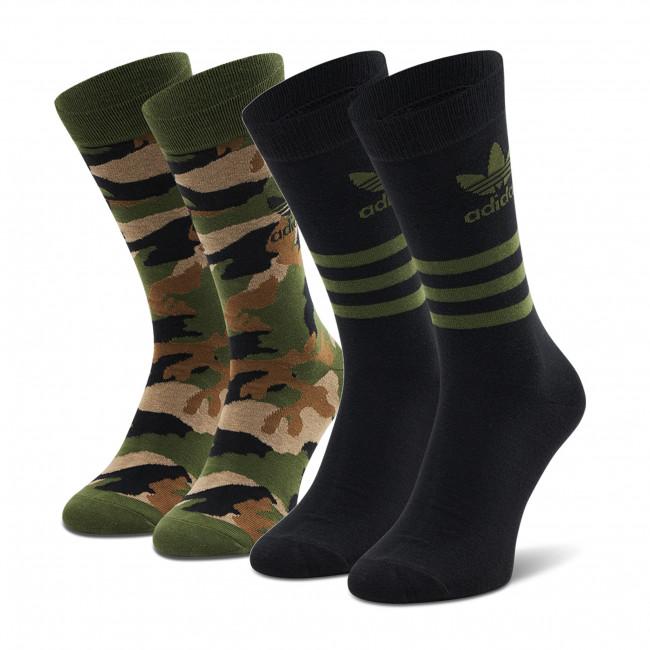 Súprava 2 párov vysokých ponožiek unisex adidas - Camo Crew Sock GN3092 Wilpin/Black