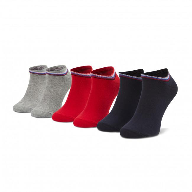Súprava 3 párov kotníkových ponožiek unisex PEPE JEANS - Bluebell PLU10521  3pak Grey Marl/Ribbon Red/Ink 0AA