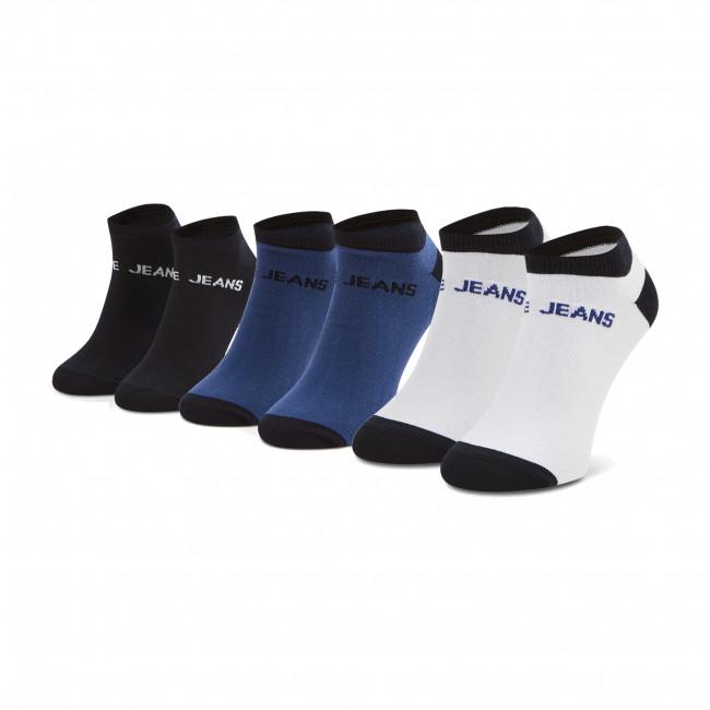 Súprava 3 párov kotníkových ponožiek pánských PEPE JEANS - Aaron PMU10655 Blue/White/Naval Blue 0AA