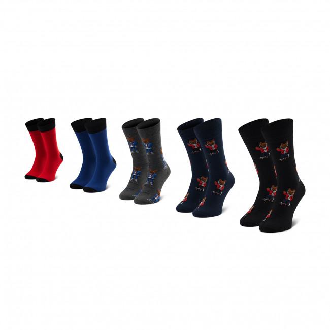 Súprava 5 párov vysokých ponožiek pánskych JACK&JONES - Jacorg Dog Sock 5 12185856 OS Dark Grey/Melange/Black