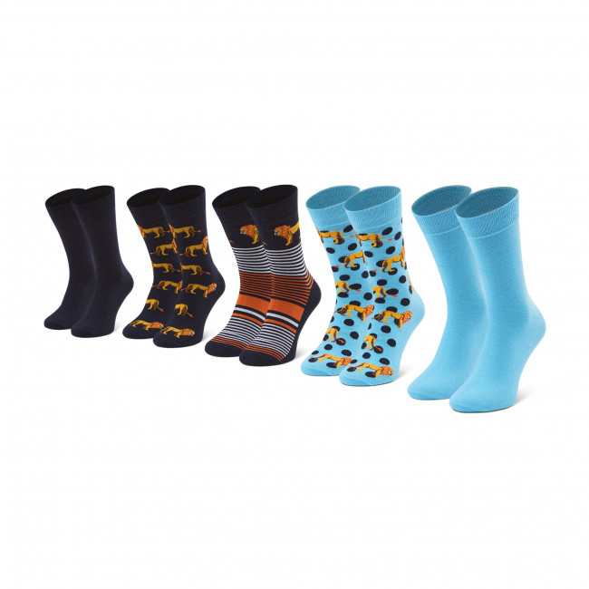 Súprava 5 párov vysokých ponožiek pánskych JACK&JONES - Jaclion 12185859 r.OS Navy BlazER