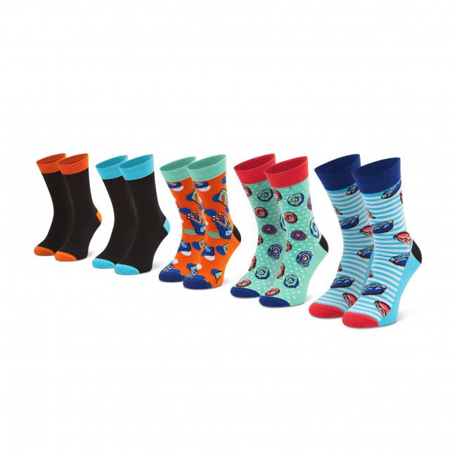 Súprava 5 párov vysokých ponožiek unisex JACK&JONES - Jacjunk Food 5 Pack 12185892 Fiery Coral/Blue Fish
