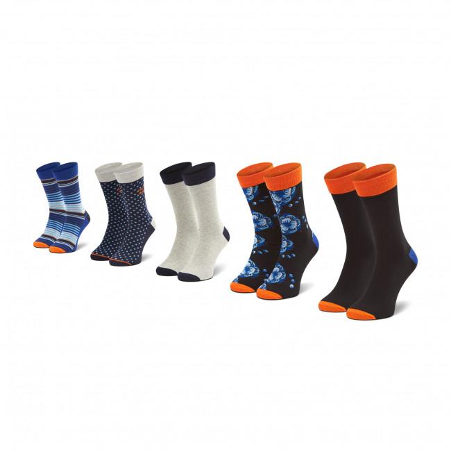 Súprava 5 párov vysokých ponožiek unisex JACK&JONES - Jacblueis 12185893 Black/Galaxy Blu