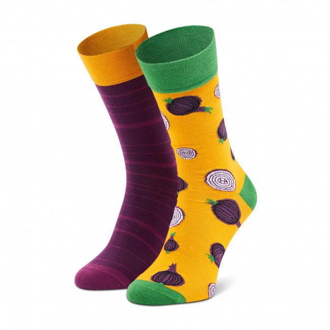 Ponožky Vysoké Pánske DOTS SOCKS - D20WF-SX-026-X-041046 Fialová Žltá