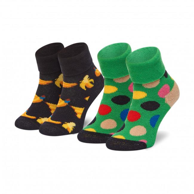 Súprava 2 párov vysokých ponožiek detských HAPPY SOCKS - KBAN45-6500 Farebná