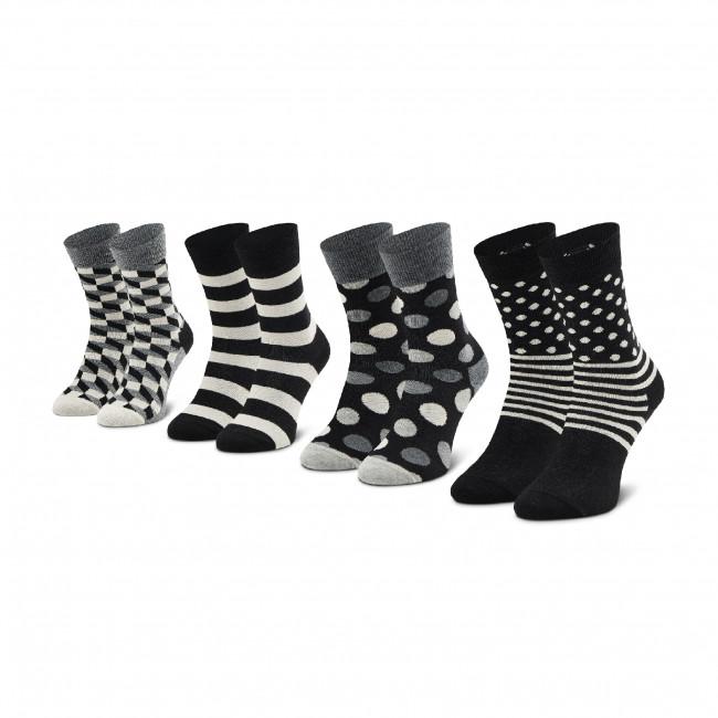 Súprava 4 párov vysokých ponožiek unisex HAPPY SOCKS - XCBW09-9100 Biela Čierna
