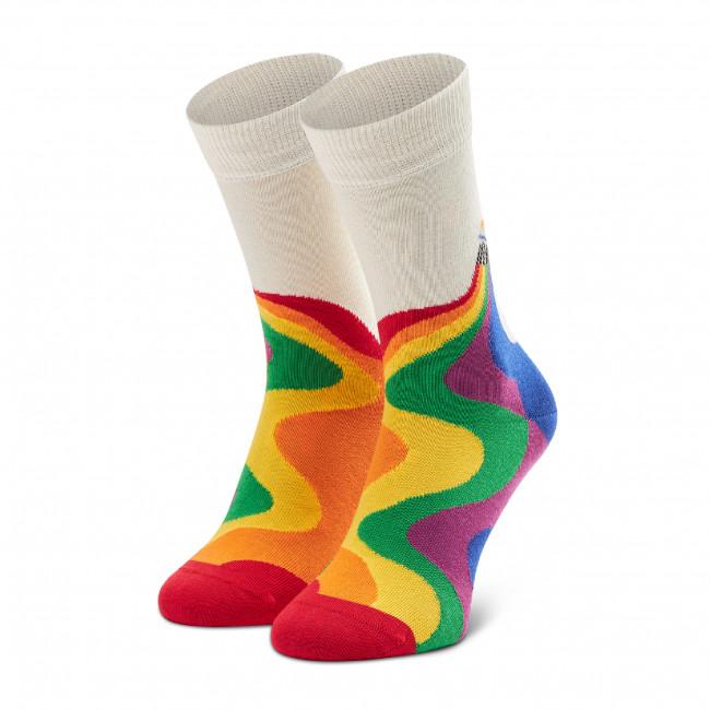 Ponožky Vysoké Unisex HAPPY SOCKS - PCS01-1300 Biela Farebná