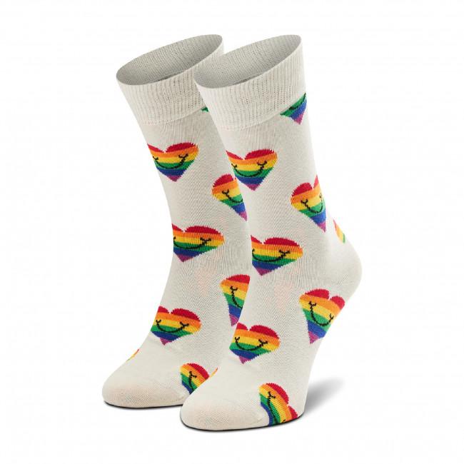 Ponožky Vysoké Unisex HAPPY SOCKS - PHS01-1300 Biela