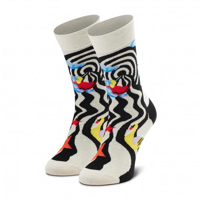 Ponožky Vysoké Unisex HAPPY SOCKS - CIR01-9100 Biela Čierna