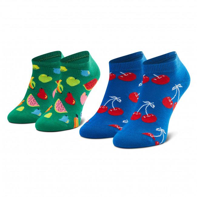 Súprava 2 párov kotníkových ponožiek unisex HAPPY SOCKS - FRU02-6300 Modrá Zelená