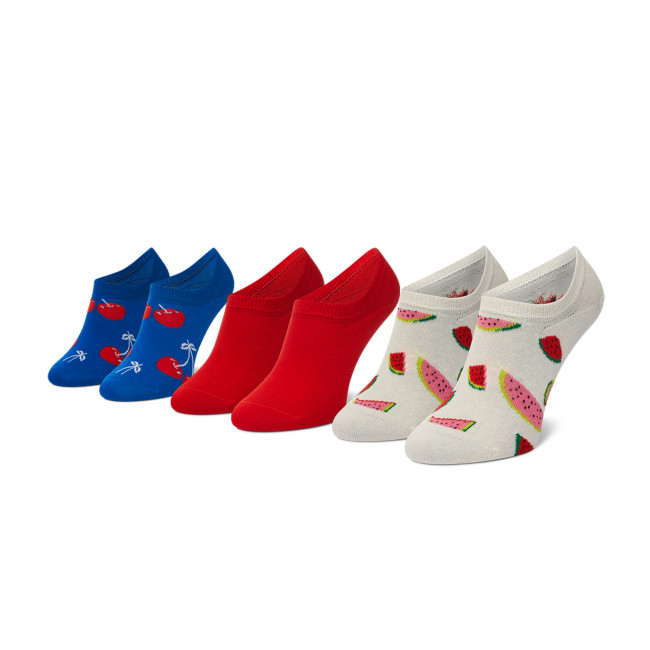 Súprava 3 párov kotníkových ponožiek dámskych HAPPY SOCKS - FRU39-1300 Farebná