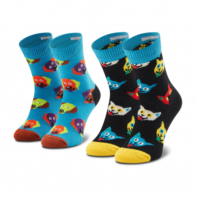 Súprava 2 párov vysokých ponožiek detských HAPPY SOCKS - KCAD02-6700 Farebná Modrá