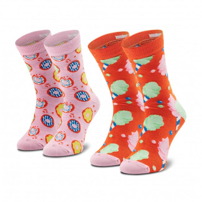 Súprava 2 párov vysokých ponožiek detských HAPPY SOCKS - KCOC02-2900 Oranžová