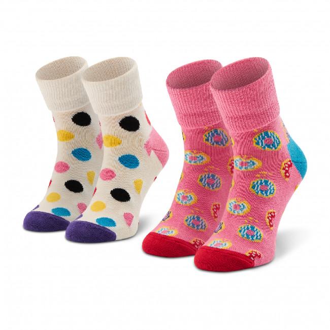 Súprava 2 párov vysokých ponožiek detských HAPPY SOCKS - KDON19-3300 Biela Ružová