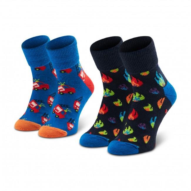 Súprava 2 párov vysokých ponožiek detských HAPPY SOCKS - KFIR19-6300 Čierna Tmavo modrá