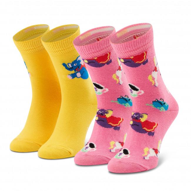 Súprava 2 párov vysokých ponožiek detských HAPPY SOCKS - KFUF02-3300 Ružová Žltá