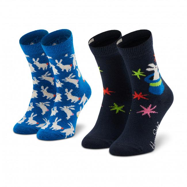 Súprava 2 párov vysokých ponožiek detských HAPPY SOCKS - KMAG02-6500 Tmavo modrá