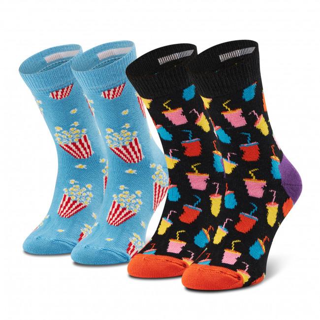 Súprava 2 párov vysokých ponožiek detských HAPPY SOCKS - KSNA02-9300 Farebná Modrá