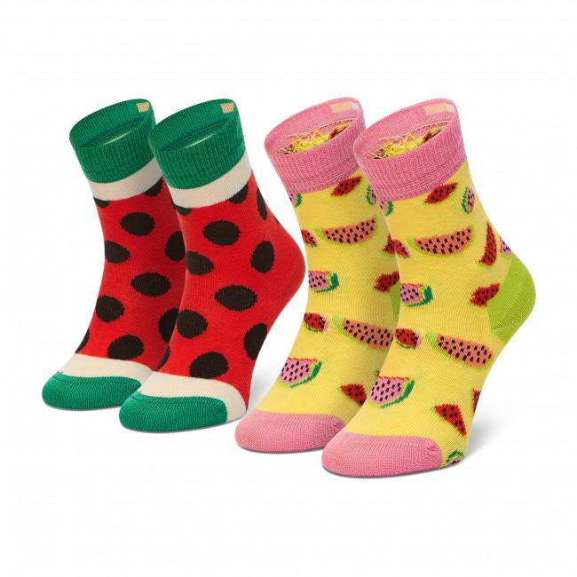 Súprava 2 párov vysokých ponožiek detských HAPPY SOCKS - KWAT02-2000 Farebná