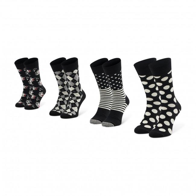 Súprava 4 párov vysokých ponožiek unisex HAPPY SOCKS - XBAW09-9100 Biela Čierna