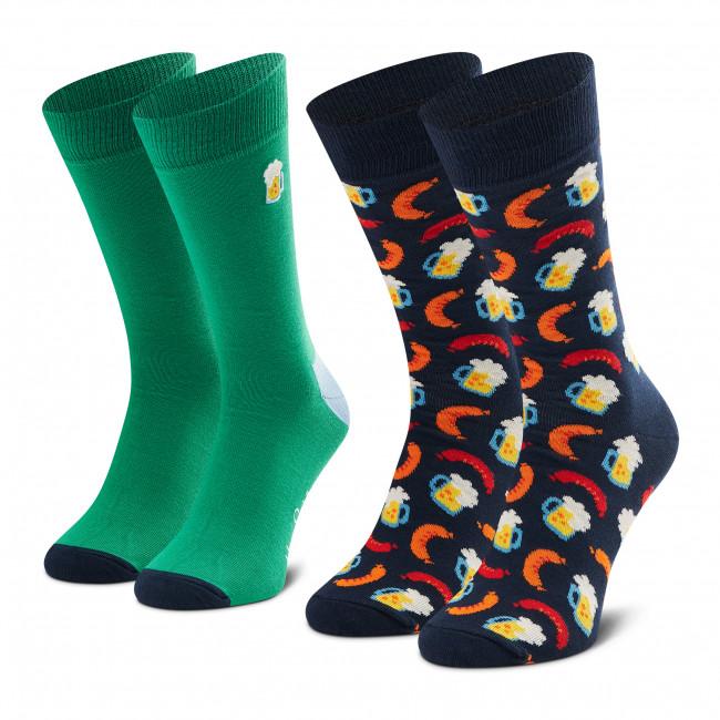 Súprava 2 párov vysokých ponožiek unisex HAPPY SOCKS - XBEE02-7300 Tmavo modrá Zelená