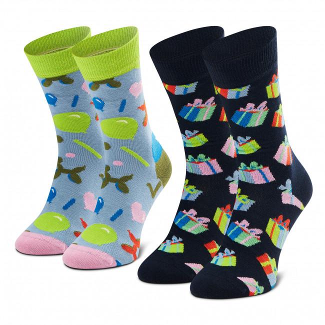Súprava 2 párov vysokých ponožiek unisex HAPPY SOCKS - XBIR02-0200 Modrá Tmavo modrá