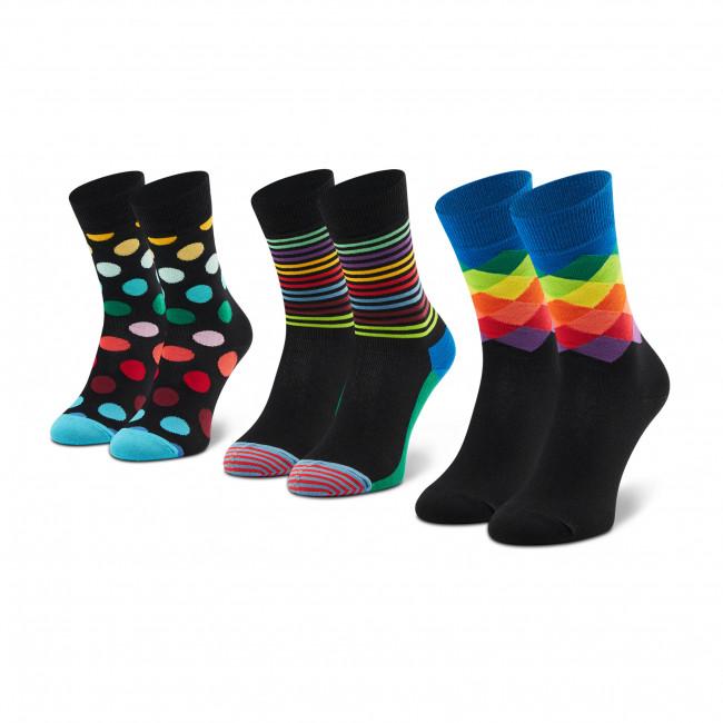 Súprava 3 párov vysokých ponožiek unisex HAPPY SOCKS - XCMC08-9300 Čierna Farebná