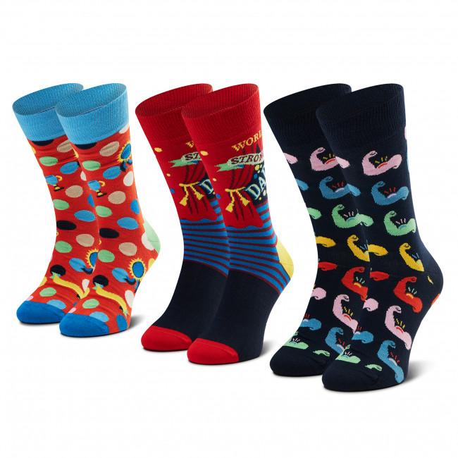 Súprava 3 párov vysokých ponožiek unisex HAPPY SOCKS - XFAT08-0200 Farebná