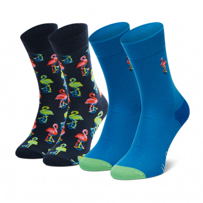 Súprava 2 párov vysokých ponožiek unisex HAPPY SOCKS - XFLA02-6500 Modrá Tmavo modrá