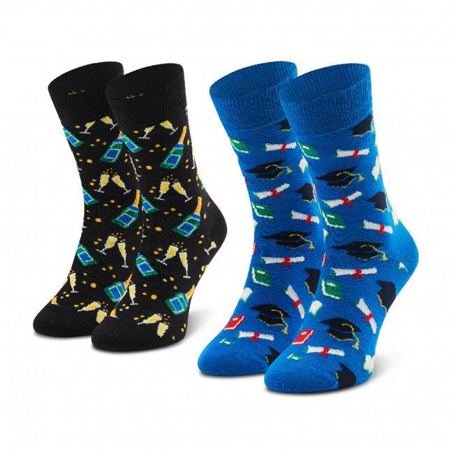 Súprava 2 párov vysokých ponožiek unisex HAPPY SOCKS - XGRA02-9300 Čierna Modrá