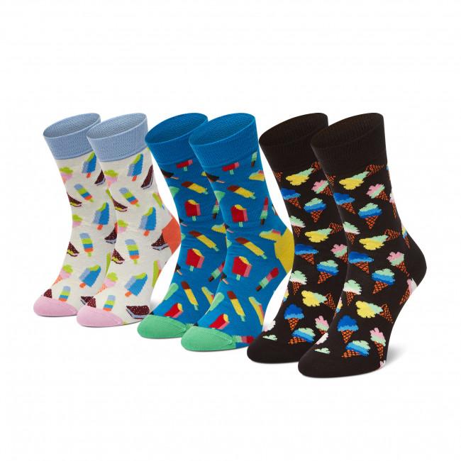 Súprava 3 párov vysokých ponožiek dámských HAPPY SOCKS - XICE08-6700 Farebná