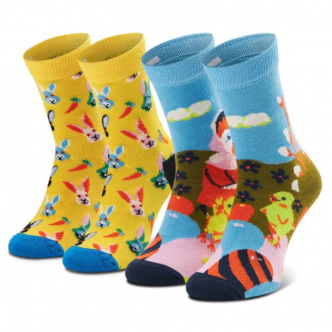 Súprava 2 párov vysokých ponožiek detských HAPPY SOCKS - XKEAS02-2200 Modrá Žltá
