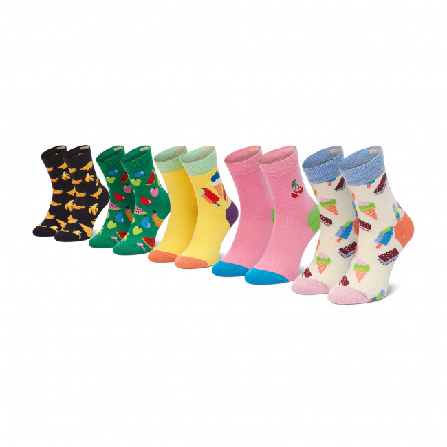 Súprava 5 párov vysokých ponožiek detských HAPPY SOCKS - XKICF44-0200 Farebná