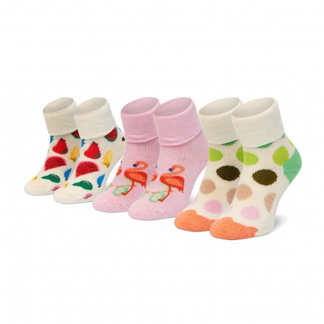 Súprava 3 párov vysokých ponožiek detských HAPPY SOCKS - XKFLA08-3300 Biela Farebná