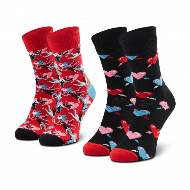 Súprava 2 párov vysokých ponožiek unisex HAPPY SOCKS - XLOV02-4300 Červená Čierna