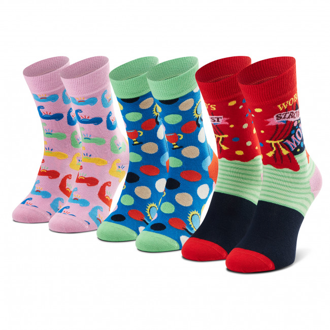 Súprava 3 párov vysokých ponožiek dámských HAPPY SOCKS - XMOT08-3300 Farebná