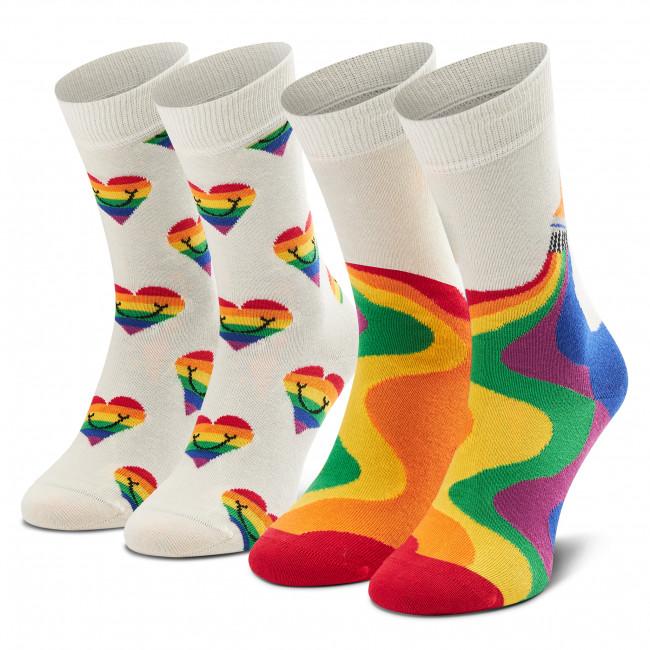 Súprava 2 párov vysokých ponožiek unisex HAPPY SOCKS - XPRI02-9300 Biela Farebná