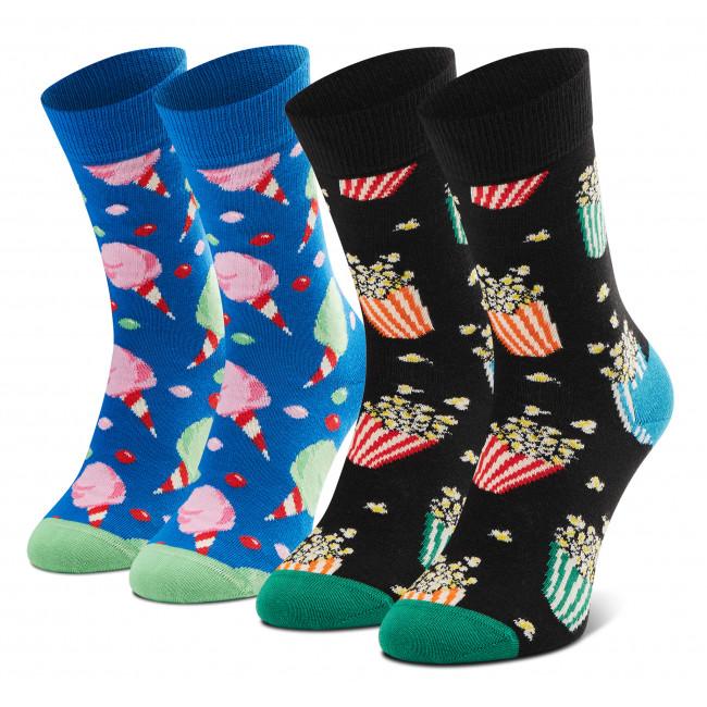 Súprava 2 párov vysokých ponožiek unisex HAPPY SOCKS - XSNA02-6300 Čierna Modrá