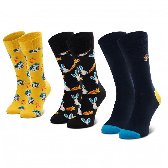 Súprava 3 párov vysokých ponožiek unisex HAPPY SOCKS - XTIG08-2200 Farebná