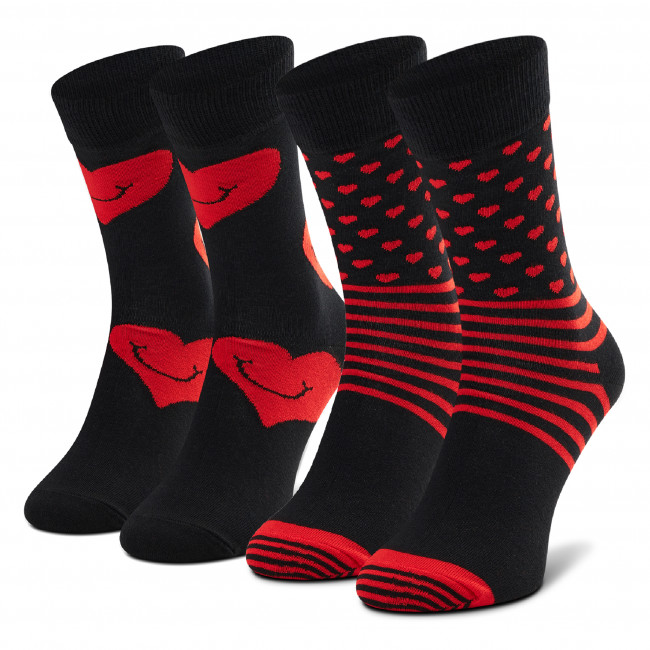 Súprava 2 párov vysokých ponožiek unisex HAPPY SOCKS - XVAL02-9300 Čierna