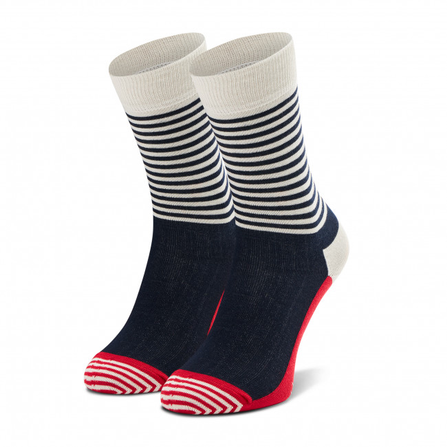 Ponožky Vysoké Unisex HAPPY SOCKS - SH01-068 Biela Tmavo modrá